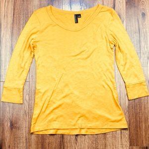 Cynthia Rowley V-neck T-shirt saffron yellow L